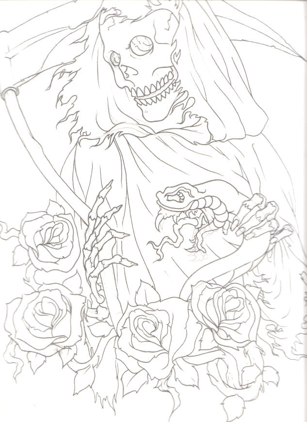 Line Drawing Tattoo Sleeve : Reaper half sleeve lines by keebyo on deviantart