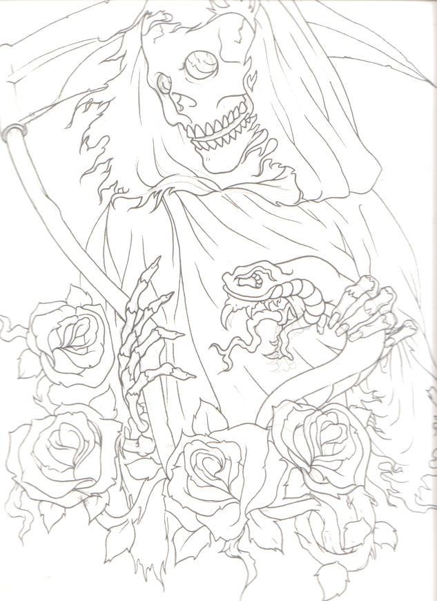 Line Drawing Tattoo Sleeve : Reaper half sleeve lines by keebyo on deviantart