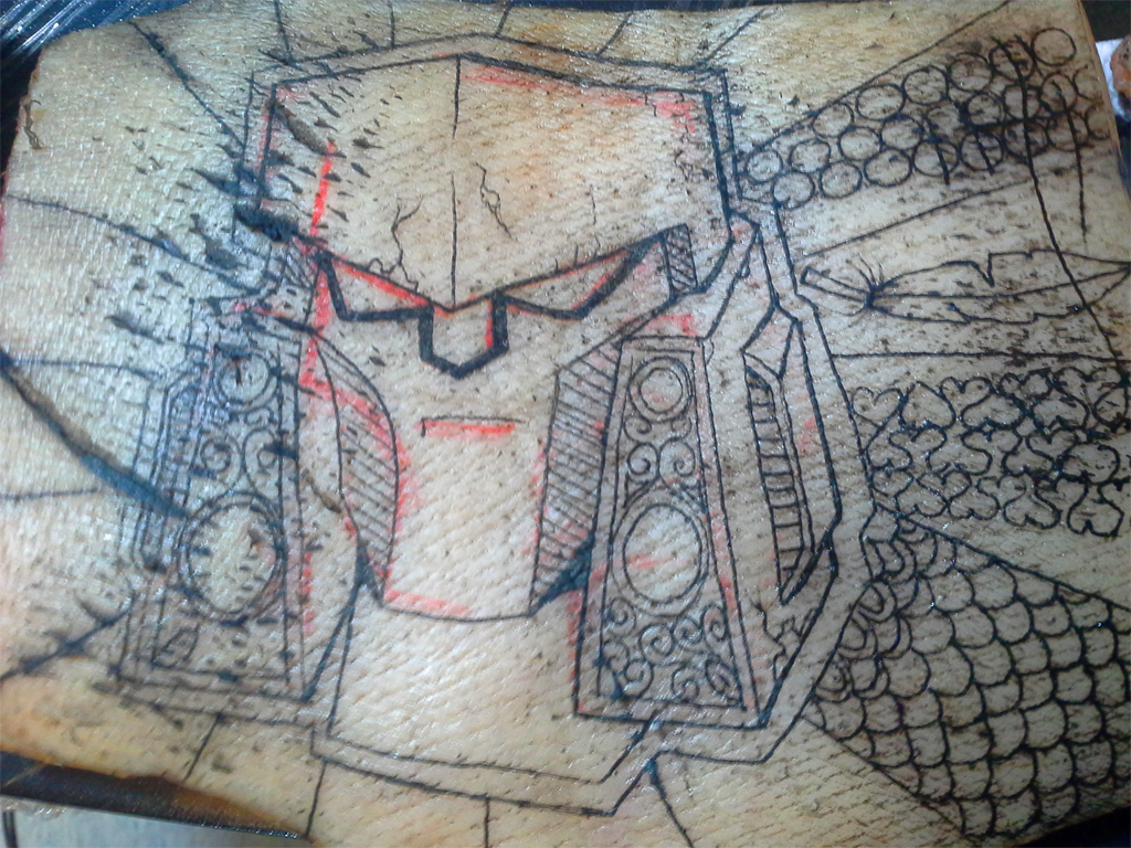 Another pig skin this one with megatron by pinkuh on for Tattoo practice pig skin