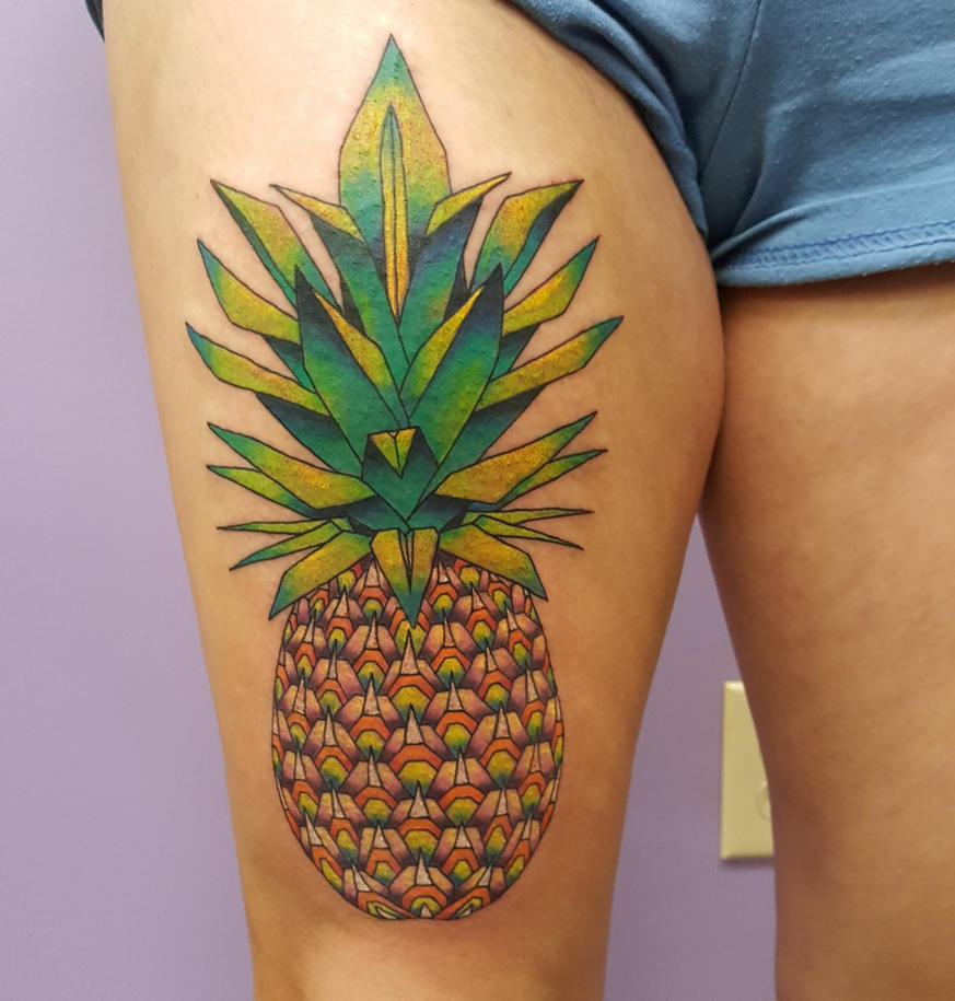 Pineapple tattoo by pinkuh on deviantart for Tattoo shop etiquette