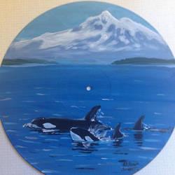 Vinyl Art-Mount Baker and Killer Whales by Aleksi-Ann
