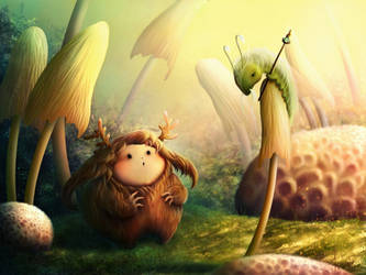 Meeting in the mushroom forest by Alliot-art