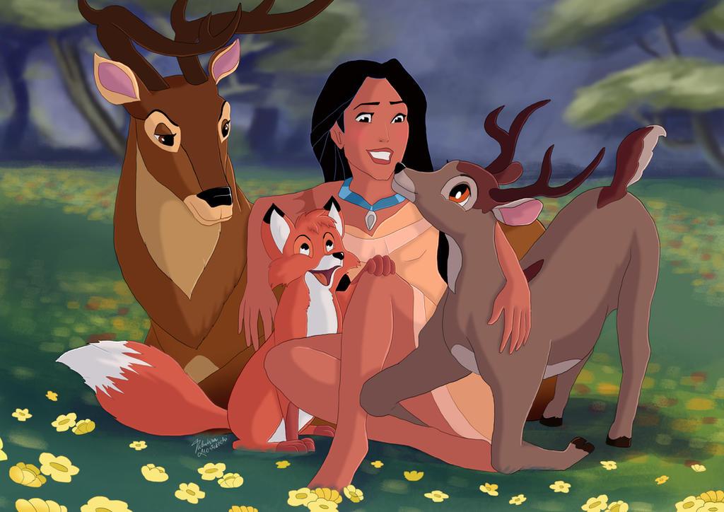 Pocahontas and animals