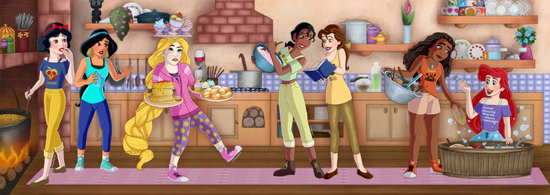 Princesses in kitchen