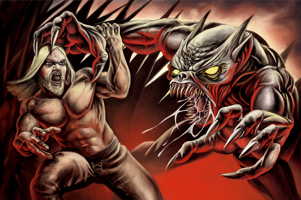 ~ maximum ART ~: The maiming of Grendel |Beowulf Fighting Grendel Drawing