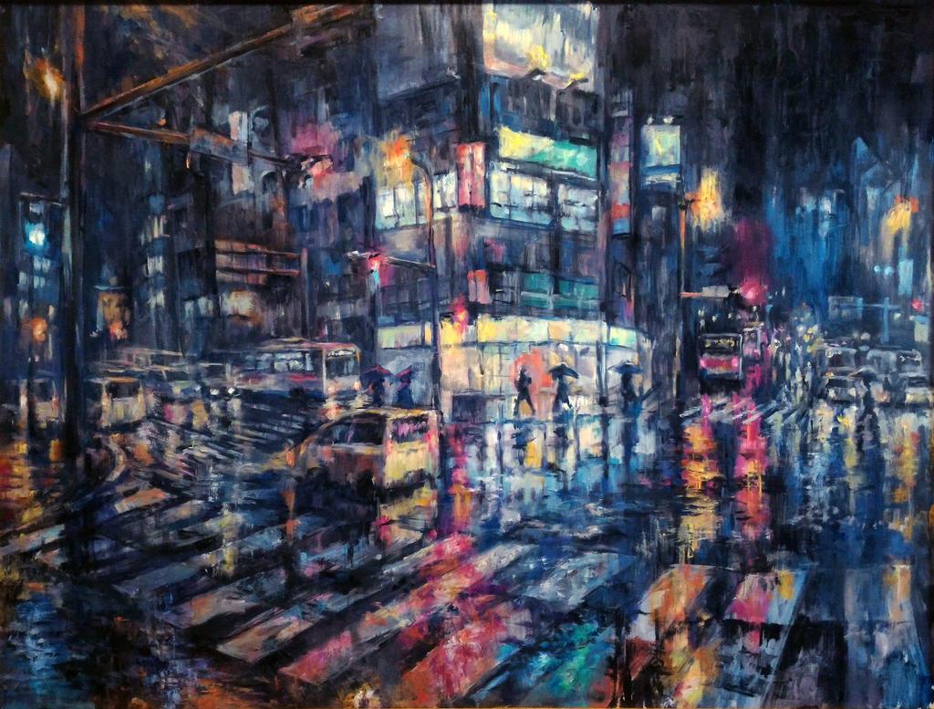 night town rain by kabei-funio