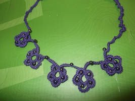 Purple Flower Tatting Necklace
