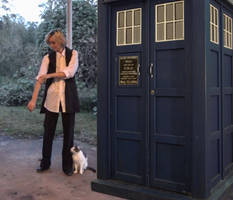 A girl, a cat, a box... (colour)