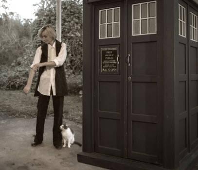 A girl, a cat, a box...