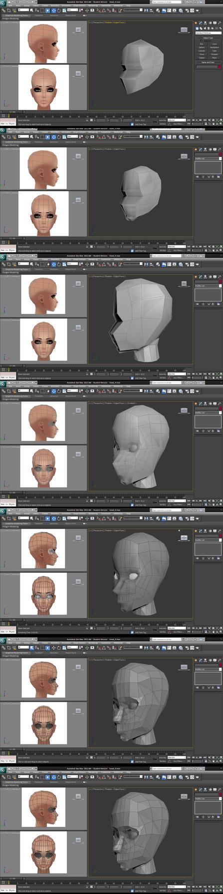 Female Head WIP by UltraNoire