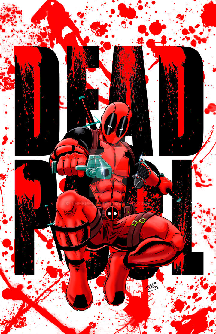 Deadpool Print name and blood version by thEbrEEze