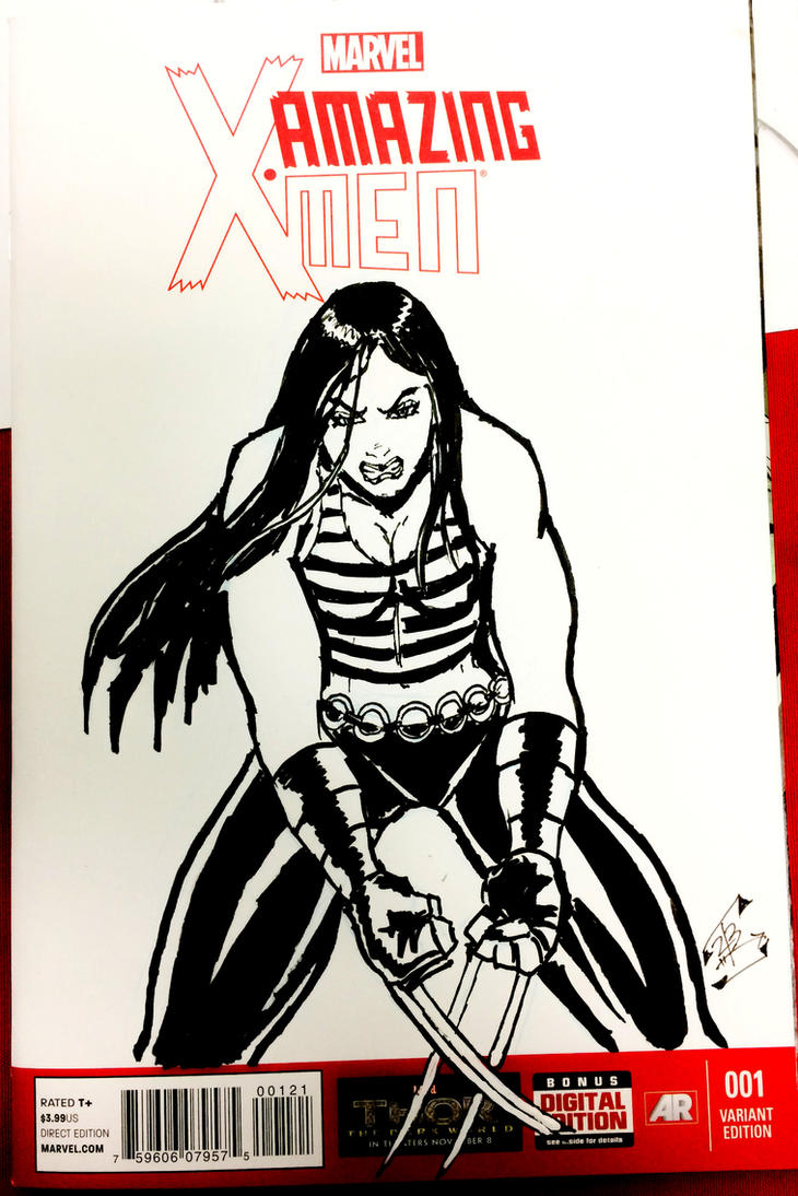 X-23 on blank variant cover by thEbrEEze