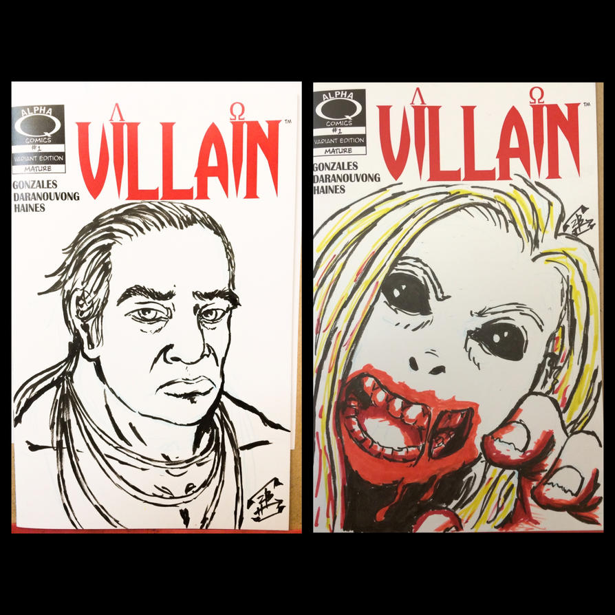 Portrait and Zombie on VILLAIN blank covers by thEbrEEze