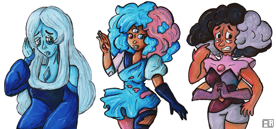Just a few Steven Universe characters I drew in my sketchbook that I wanted to upload, but thought they'd be boring on their own. I'm going to take this moment to say how much I love Rhodonote - sh...