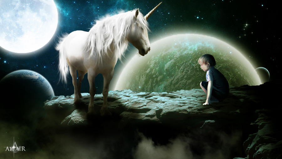 The Unicorn and the child by Altair-E