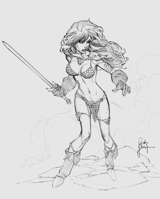 Drawing Red Lines With Green Ink : Another red sonja sketch by randygreen on deviantart