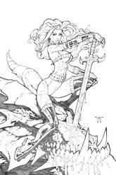 Dragon Slayer Rhea - pencils by RandyGreen