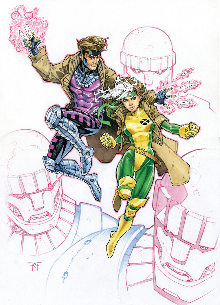 Rogue and Gambit Color Commission by RandyGreen