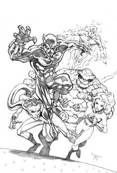 Black Panther and Fantastic Four Marvel Age Cover