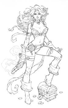 WIP Red Monika Commission Inks