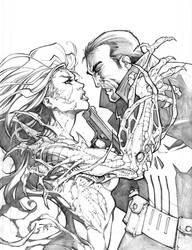 Witchblade vs. Punisher by RandyGreen