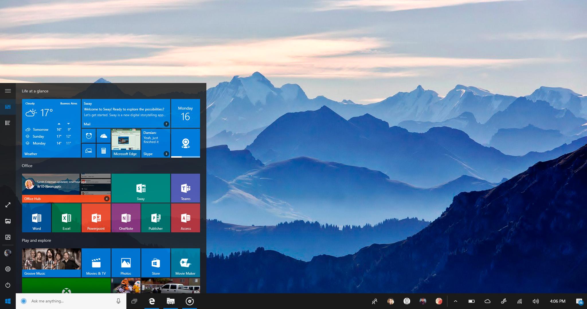 Windows 10 NEON: Start Menu
