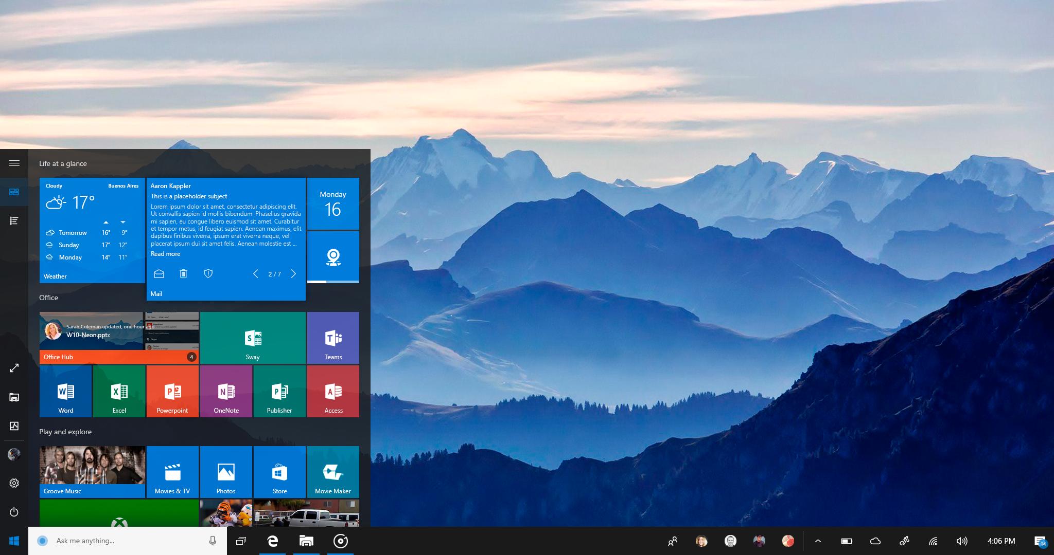 Windows 10 NEON: Interactive Mail tile