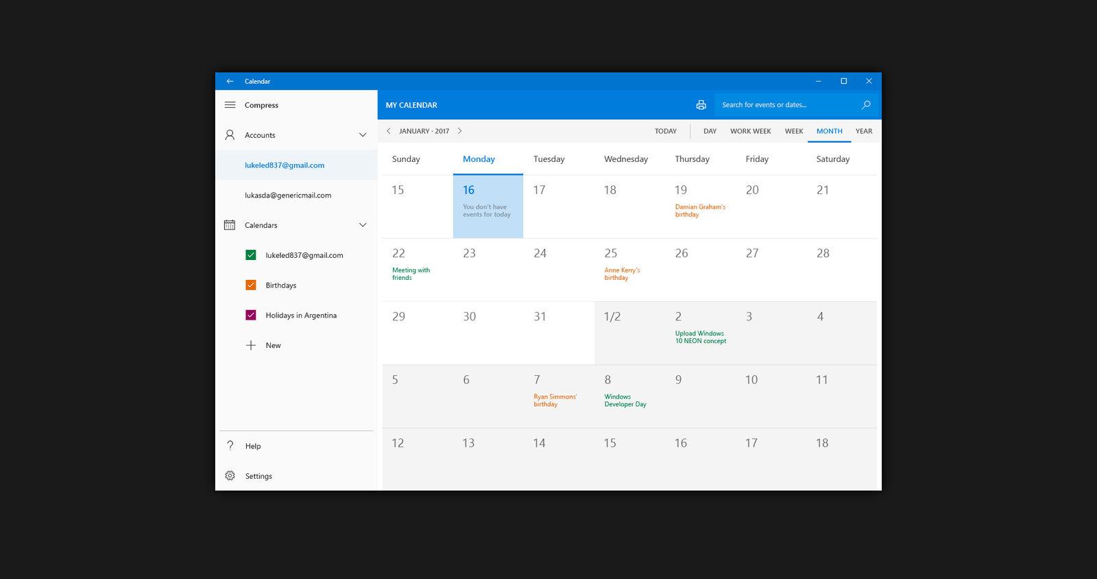 Windows 10 NEON: Calendar