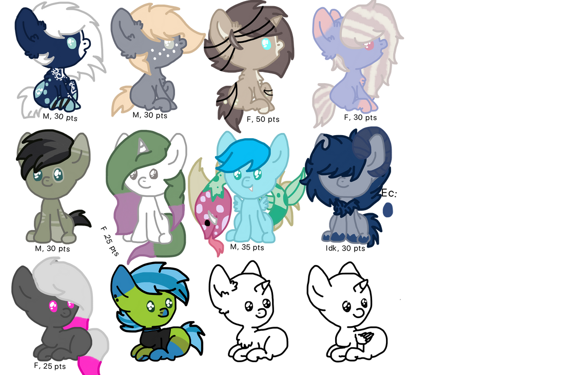 Pony Oc Point adoptables! [OPEN] by TurtlePotatoStew