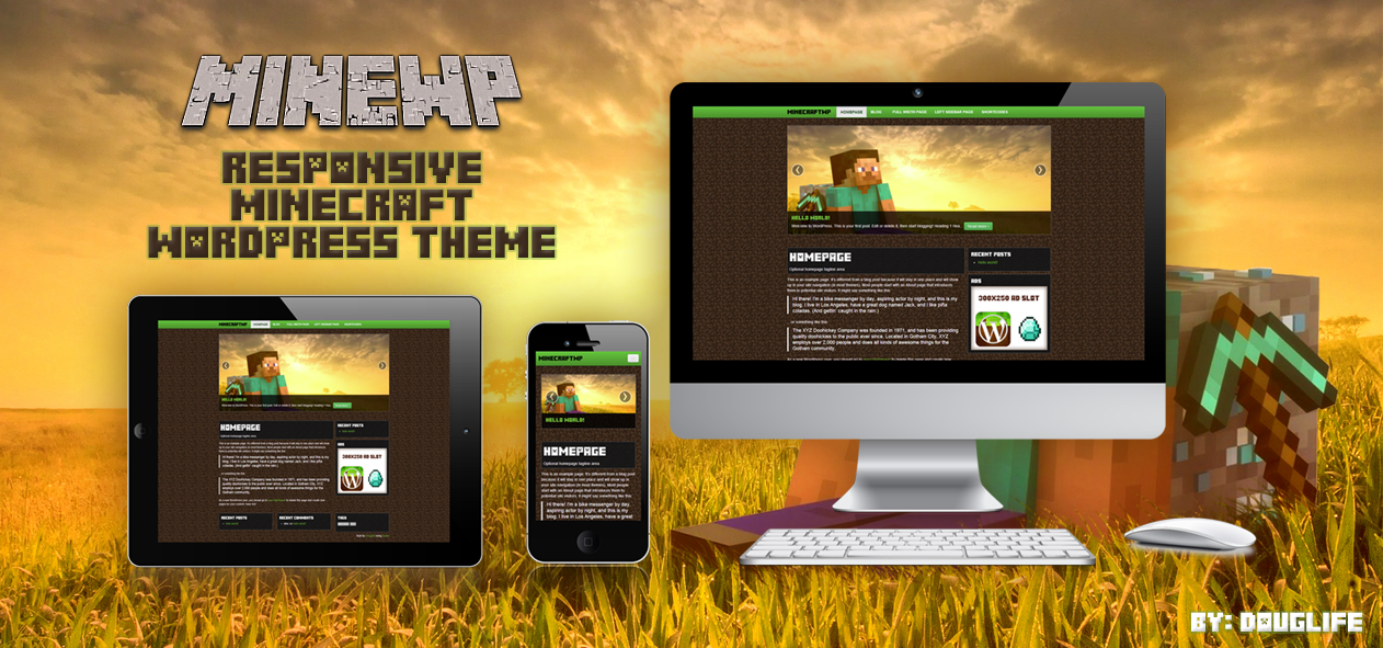 MineWP A Free Minecraft Responsive Wordpress Theme by dlife on ...