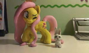 Fluttershy with Angel Bunny by KittenLollipop