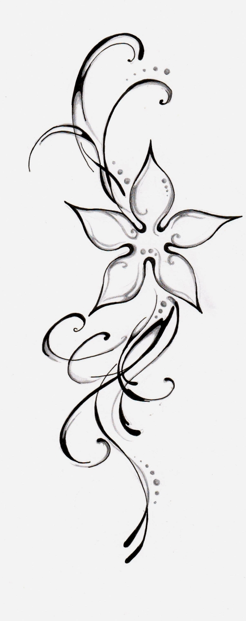 simple flower tattoo design by feleri on deviantart. Black Bedroom Furniture Sets. Home Design Ideas