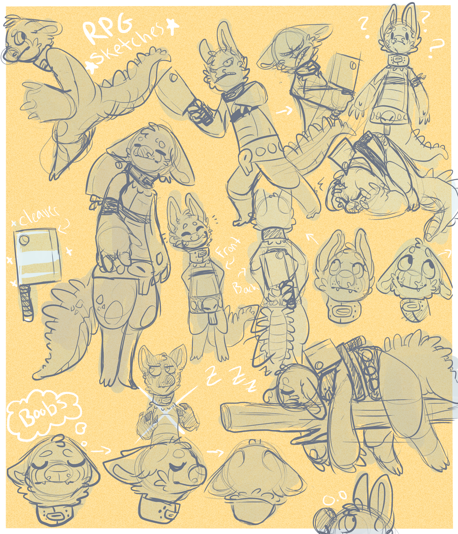 lotsa RPG sketches by HauntedHomo