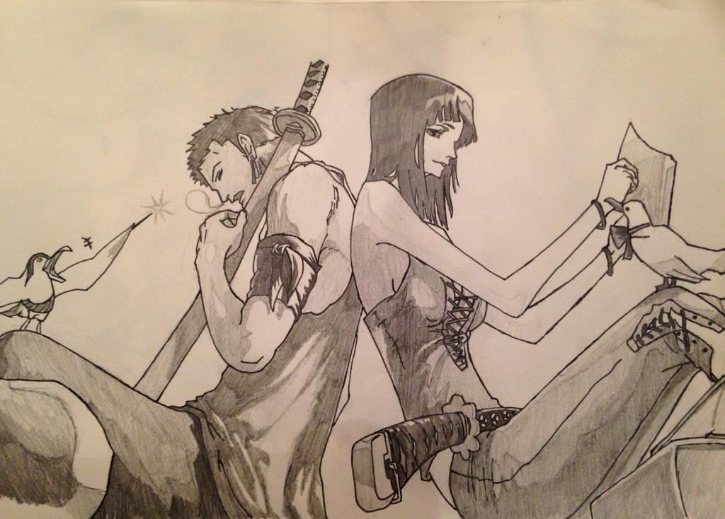 Zoro and Robin by nekoduchess