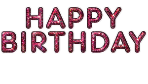 happy birthday glass design red PNG