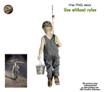 small boy with fishing rod and bucket - PNG