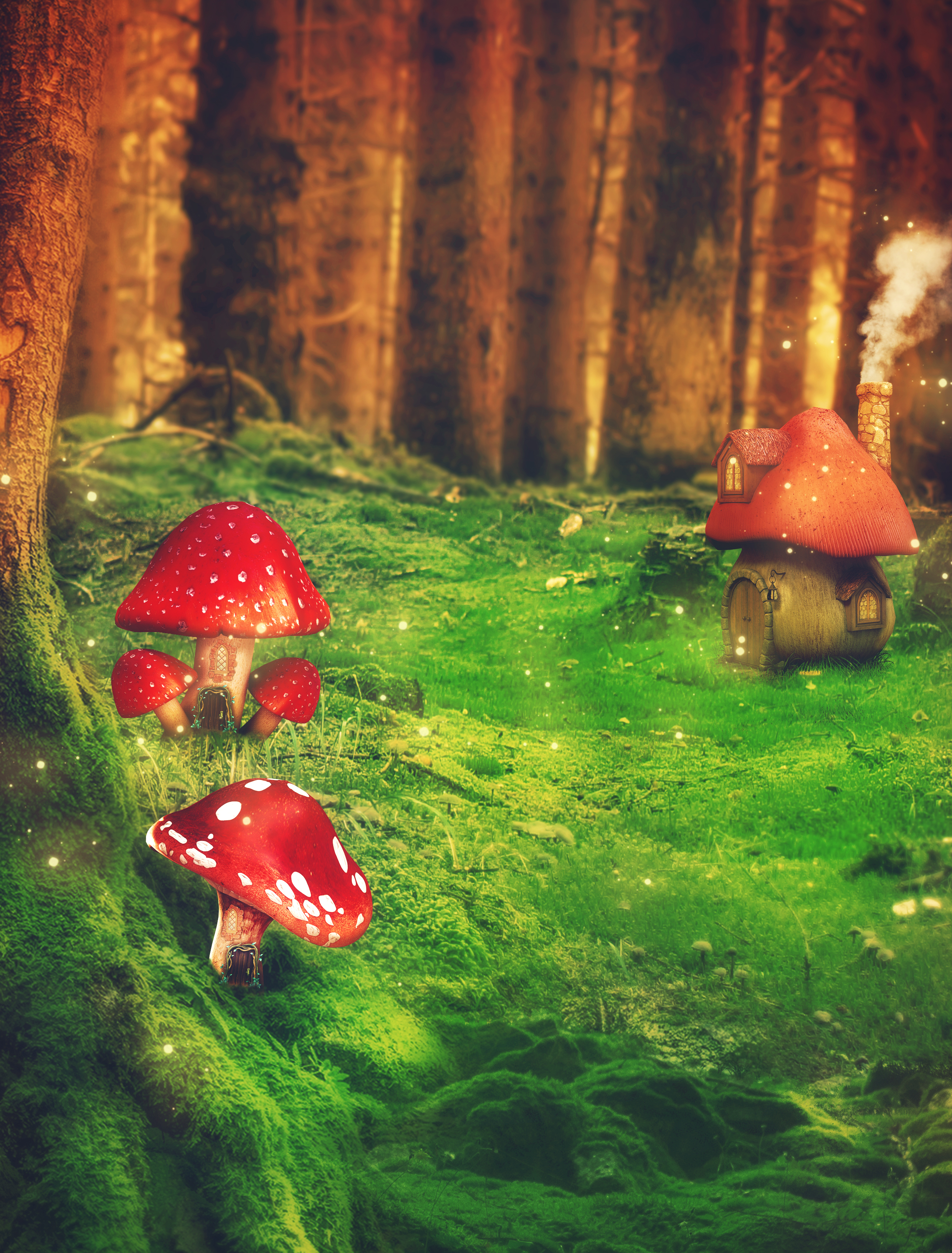 fairy tale landscape background stock