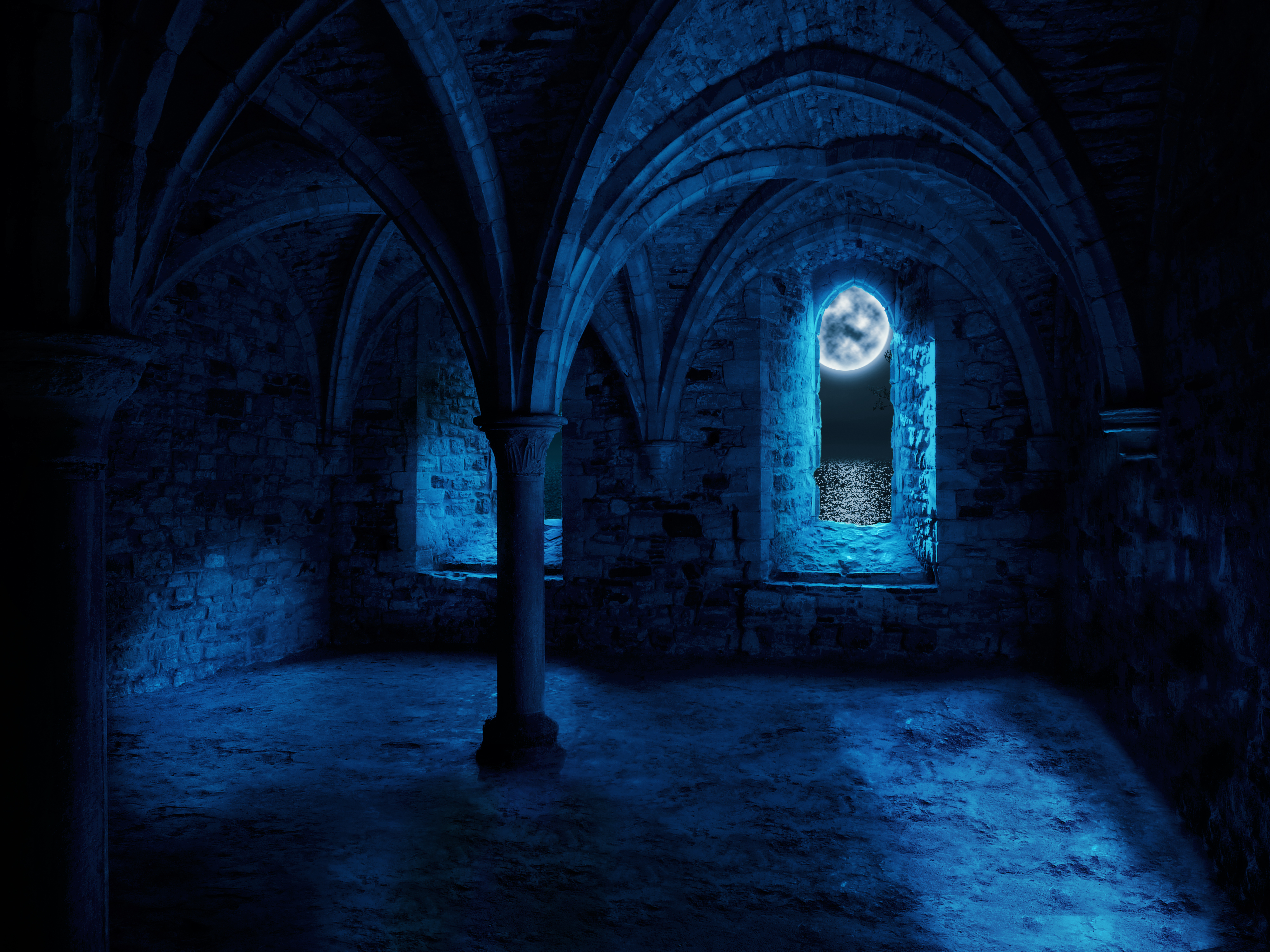 gothic abbey empty room premade background
