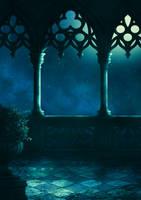 balcony fantasy premade background by Dark-WorkX