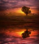fantasy background landscape sunset lake