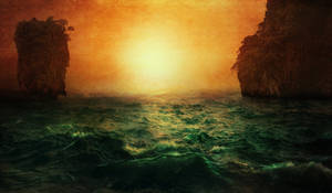 Sunset at the ocean - fantasy premade background