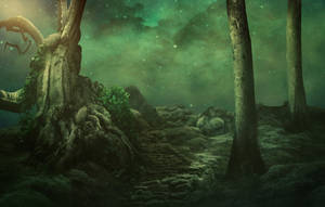 Magic path with old trees - Premade background by Dark-WorkX