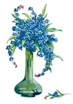 vase with forgetmenot - PNG