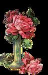 vintage pink rose vase - PNG stock
