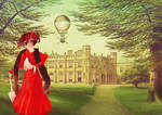 Lady in red in Thrybergh park