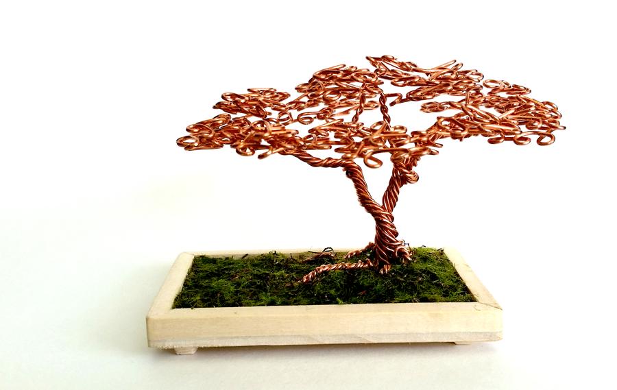 Copper Wire Desktop Bonsai Tree. by angelhitsground