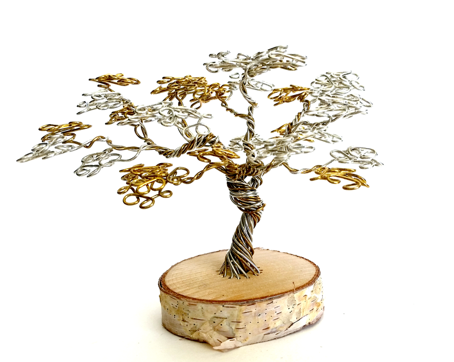 Silver and Gold Wire Desktop Tree by angelhitsground
