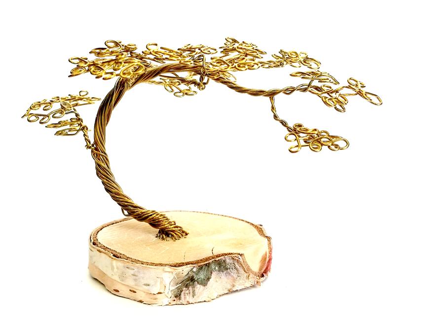 Gold Wire Desktop Bonsai Tree. by angelhitsground