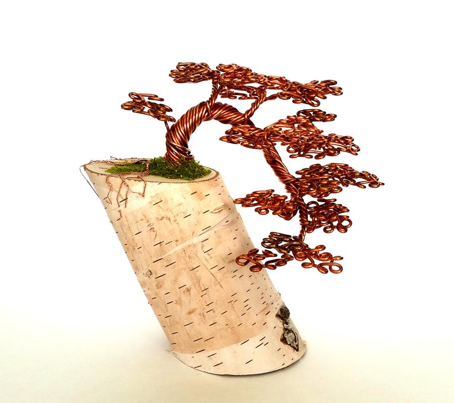 Copper Wire Cascade Bonsai Tree Sculpture. by angelhitsground