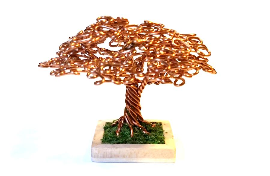 Small Round Copper Wire Bonsai Tree by angelhitsground